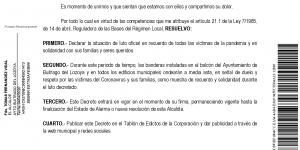 Declaración del estado de luto oficial en Buitrago del Lozoya