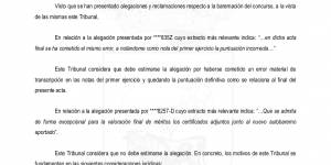 """Resolución de alegaciones y puntuación definitiva """"Plaza de Arquitecto"""""""