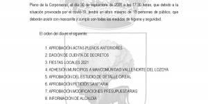 Convocatoria Pleno Ordinario del Ayuntamiento de Buitrago del Lozoya, 30 de septiembre 2020 a las 17:30h