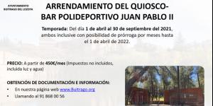 Contrato para el arrendamiento del quiosco-bar del Polideportivo Juan Pablo II, sito en el Paseo Río Lozoya nº 55