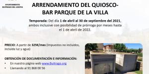 Contrato para el arrendamiento del quiosco-bar sito en el Parque de la Villa, Calle de Los Cortijos nº 1-A