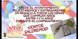 El ayuntamiento felicita a todos los niños y niñas, entre 4 y 11 años, en el día de su cumpleaños...