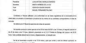 "Acta de sesión 16/02/2021 del Tribunal ""Auxiliar administrativo responsable del Polideportivo Municipal"""