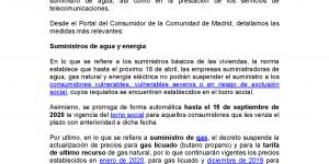 Información de utilidad sobre temas que afectan a los consumidores en relación al COVID-19