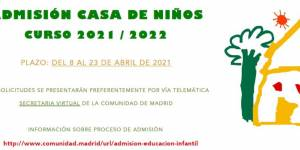 Admisión Casa de Niños curso 2021/2022