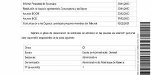 Relación provisional de aspirantes admitidos y excluidos en el proceso selectivo para cubrir una plaza de Administrativo de Administración General como personal funcionario