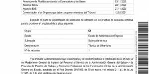 Relación provisional de aspirantes admitidos y excluidos en el proceso selectivo para cubrir una plaza de Técnico de Urbanismo Municipal funcionario (grupo C) de carrera