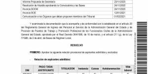 Listado provisional de admitidos y excluidos en el proceso selectivo para cubrir un puesto de técnico administración general, funcionario interino
