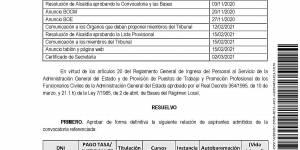 Relación definitiva de aspirantes admitidos en el proceso selectivo para cubrir una plaza de Técnico de Urbanismo Municipal funcionario (grupo C) de carrera